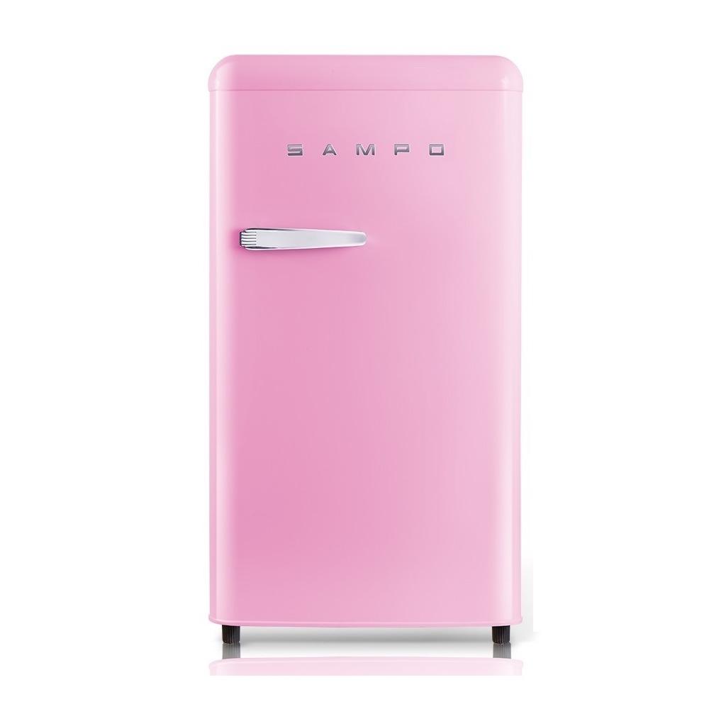 SAMPO-99公升一級能效歐風美型單門小冰箱SR-C10-P粉彩紅