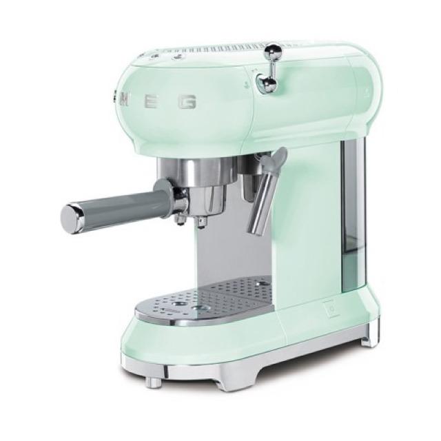 SMEG-義大利半自動義式咖啡機粉綠色ECF01PGUS